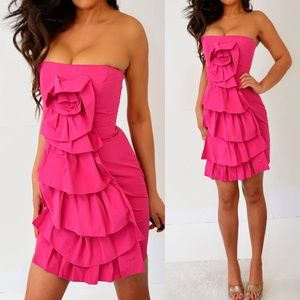BCBGMaxAzria Pink Tube Ruffle Dress 4 2 XS NWT